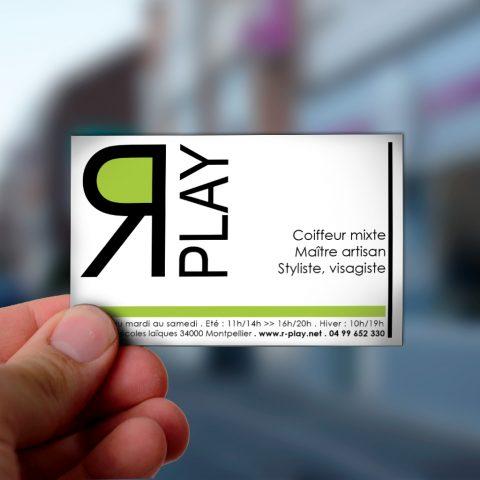 """Cartes de visite du salon de coiffure """"R-Play"""" à Montpellier"""