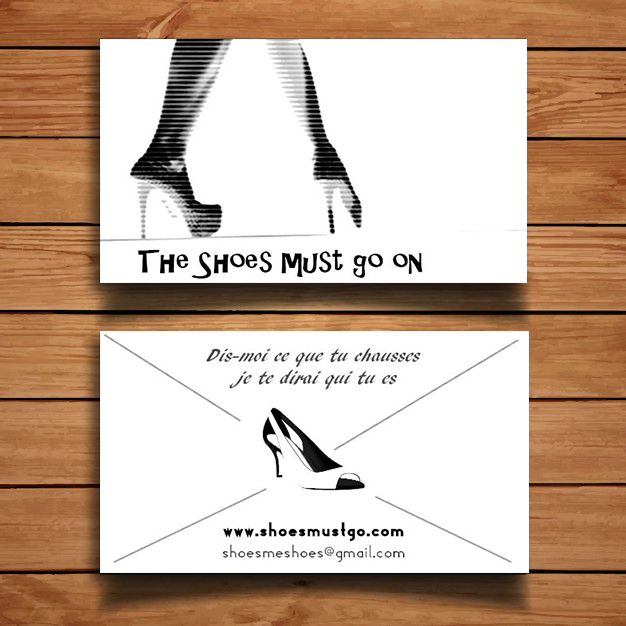 "Cartes de visite de ""The shoes must go on"""