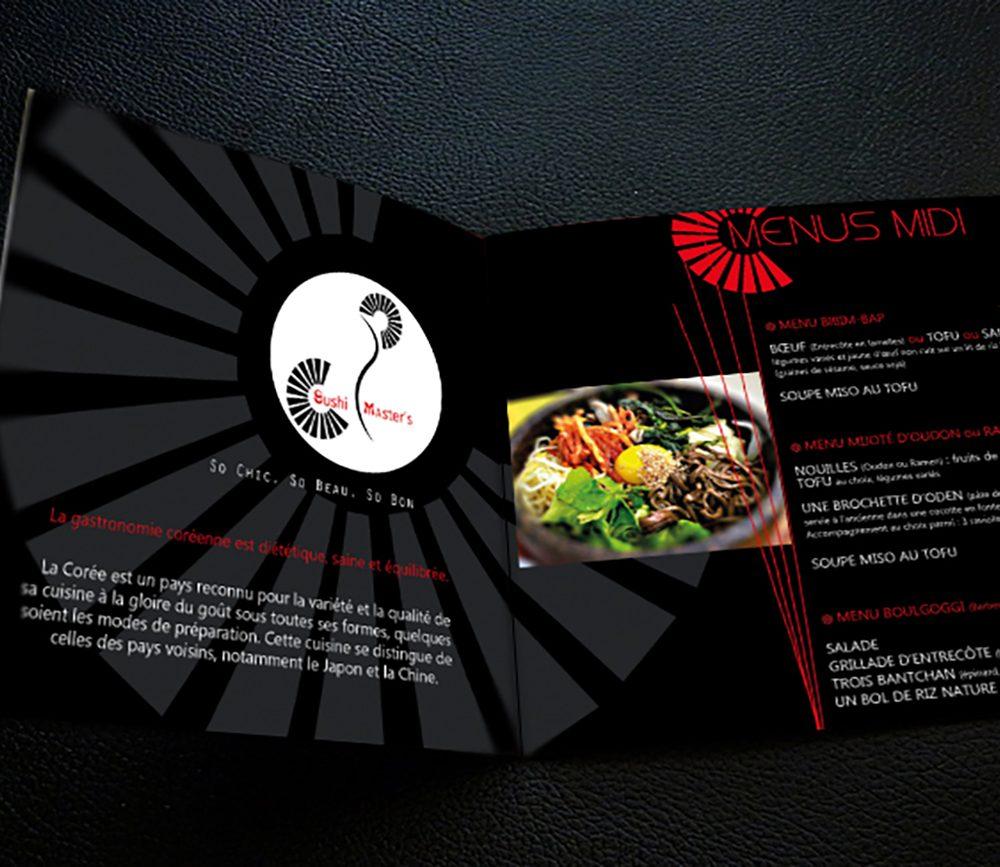 """Menus du restaurant coréen et japonais """"Sushi Master's"""" à Montpellier Antigone"""