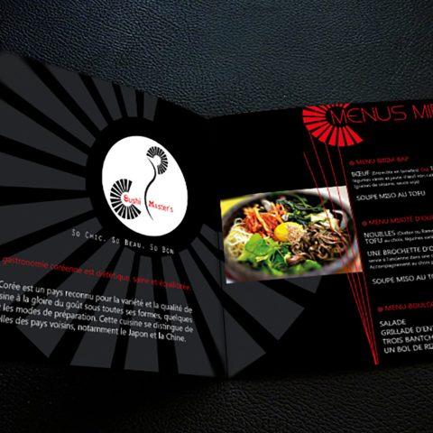 """Menus du restaurant coréen et japonais """"Sushi Master's"""" à Montpellier"""