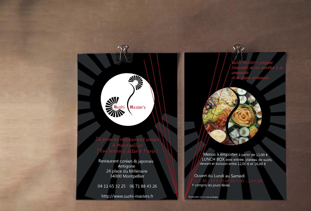 """Flyers du restaurant coréen et japonais """"Sushi Master's"""" à Montpellier Antigone"""